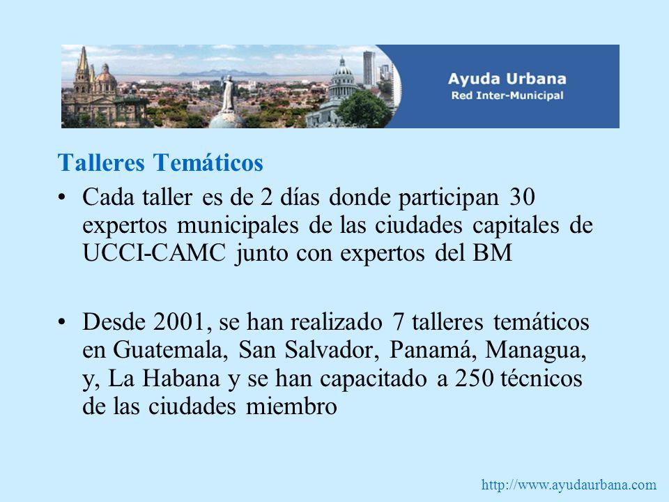 http://www.ayudaurbana.com Talleres Temáticos Cada taller es de 2 días donde participan 30 expertos municipales de las ciudades capitales de UCCI-CAMC junto con expertos del BM Desde 2001, se han realizado 7 talleres temáticos en Guatemala, San Salvador, Panamá, Managua, y, La Habana y se han capacitado a 250 técnicos de las ciudades miembro