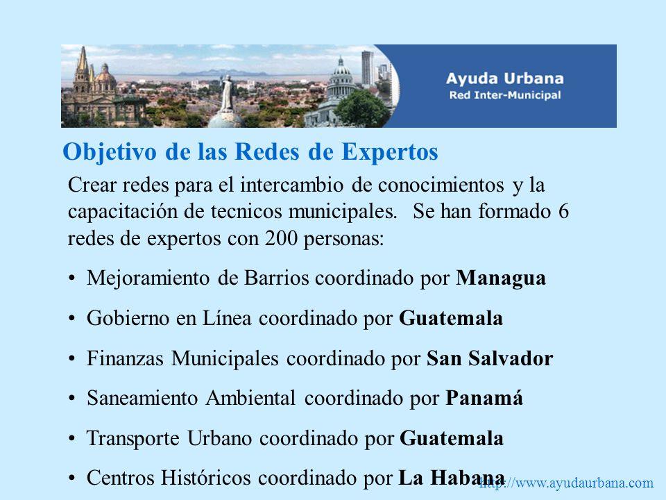 http://www.ayudaurbana.com Objetivo de las Redes de Expertos Crear redes para el intercambio de conocimientos y la capacitación de tecnicos municipales.