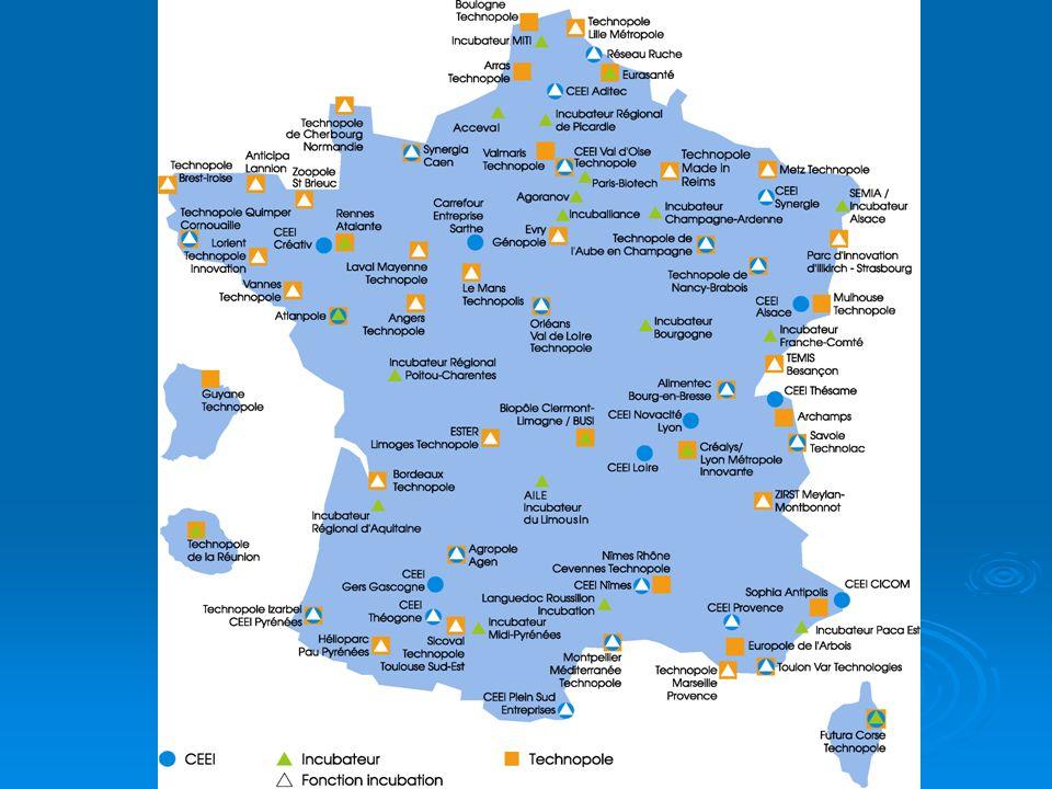 Escala de la zona de actuación : las estructuras cubren un territorio que abarca desde la comunidad de aglomeraciones (agrupamiento de municipios) hasta la región (provincia) Red abarcadora con el objetivo de ofrecer una cobertura optimal del territorio y una área económica suficiente para el desempeño de la estructura.