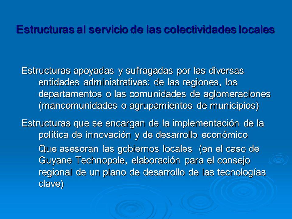 Estructuras apoyadas y sufragadas por las diversas entidades administrativas: de las regiones, los departamentos o las comunidades de aglomeraciones (mancomunidades o agrupamientos de municipios) Estructuras apoyadas y sufragadas por las diversas entidades administrativas: de las regiones, los departamentos o las comunidades de aglomeraciones (mancomunidades o agrupamientos de municipios) Estructuras que se encargan de la implementación de la política de innovación y de desarrollo económico Que asesoran las gobiernos locales (en el caso de Guyane Technopole, elaboración para el consejo regional de un plano de desarrollo de las tecnologías clave) Estructuras al servicio de las colectividades locales