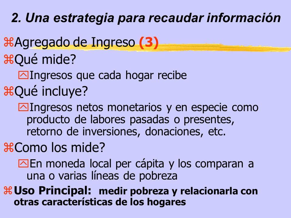 2. Una estrategia para recaudar información zAgregado de Ingreso (3) zQué mide.