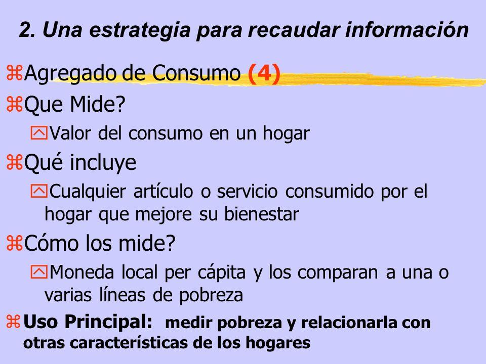 2. Una estrategia para recaudar información zAgregado de Consumo (4) zQue Mide.