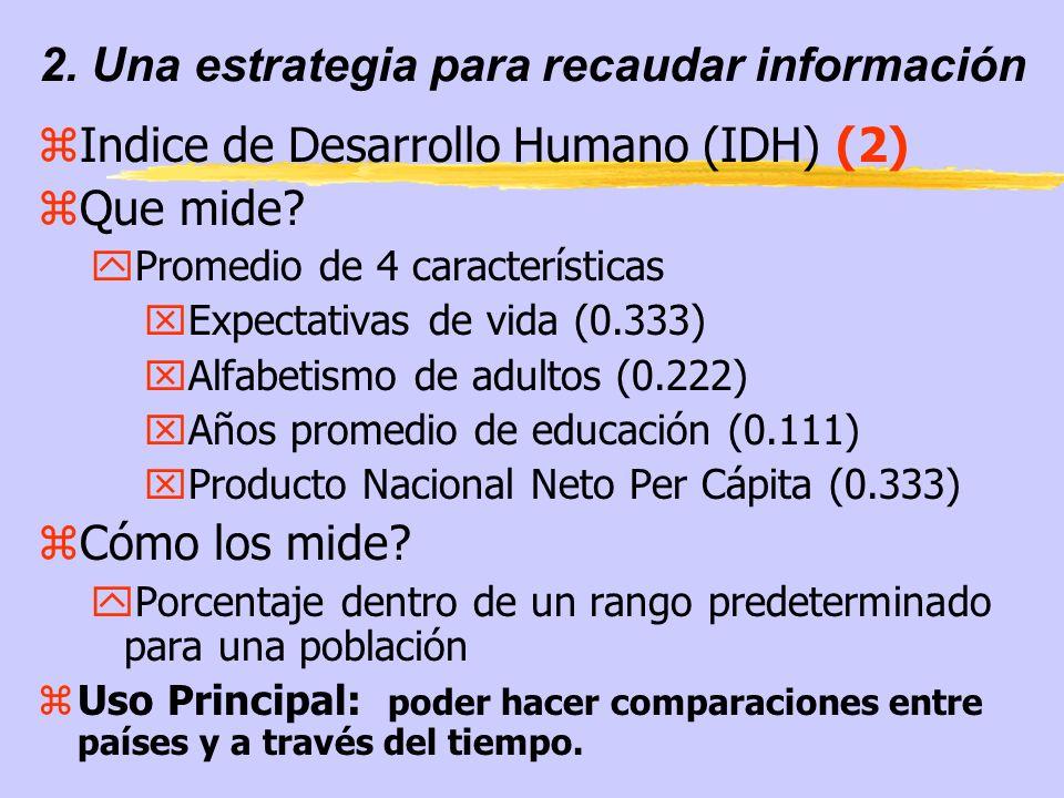 2. Una estrategia para recaudar información zIndice de Desarrollo Humano (IDH) (2) zQue mide.