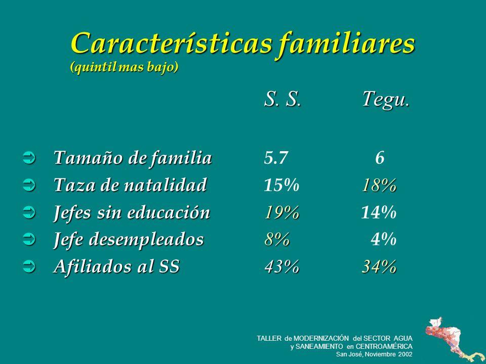 14 TALLER de MODERNIZACIÓN del SECTOR AGUA y SANEAMIENTO en CENTROAMÉRICA San José, Noviembre 2002 Características familiares (quintil mas bajo) S.