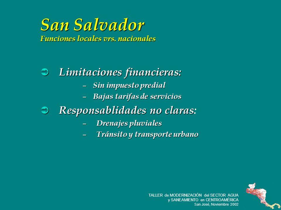 29 TALLER de MODERNIZACIÓN del SECTOR AGUA y SANEAMIENTO en CENTROAMÉRICA San José, Noviembre 2002 San Salvador Funciones locales vrs.