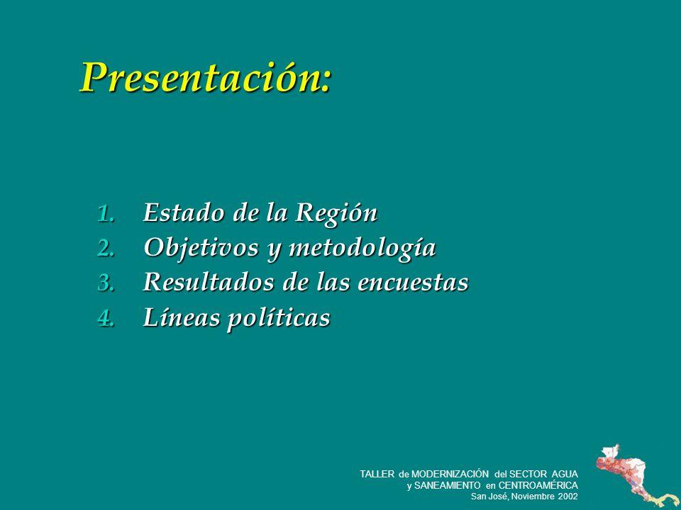 3 TALLER de MODERNIZACIÓN del SECTOR AGUA y SANEAMIENTO en CENTROAMÉRICA San José, Noviembre 2002 1.