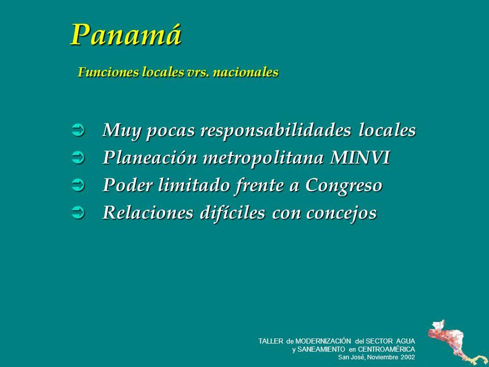 31 TALLER de MODERNIZACIÓN del SECTOR AGUA y SANEAMIENTO en CENTROAMÉRICA San José, Noviembre 2002 Panamá Funciones locales vrs.