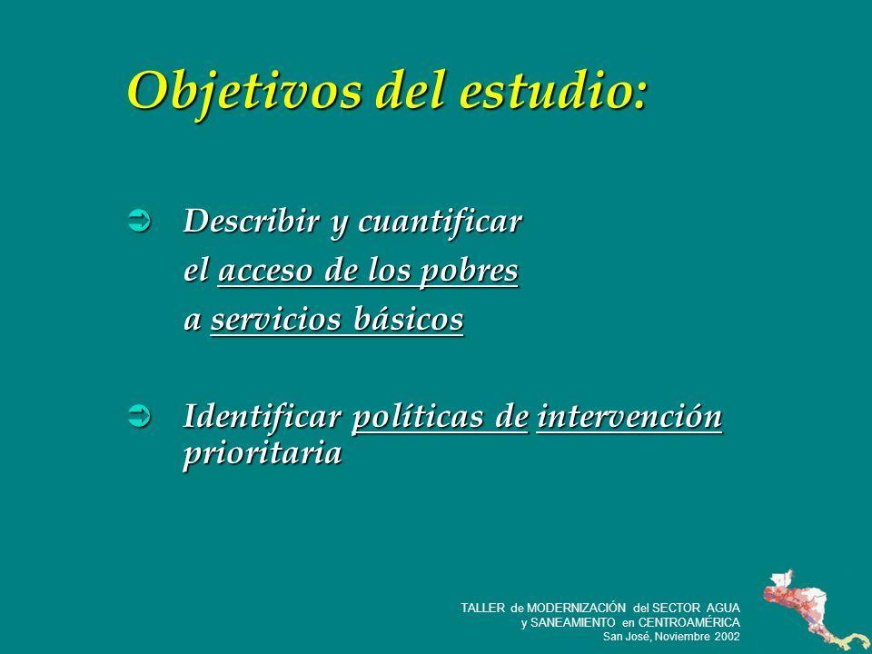 16 TALLER de MODERNIZACIÓN del SECTOR AGUA y SANEAMIENTO en CENTROAMÉRICA San José, Noviembre 2002 Características de la vivienda (quintil mas bajo) S.