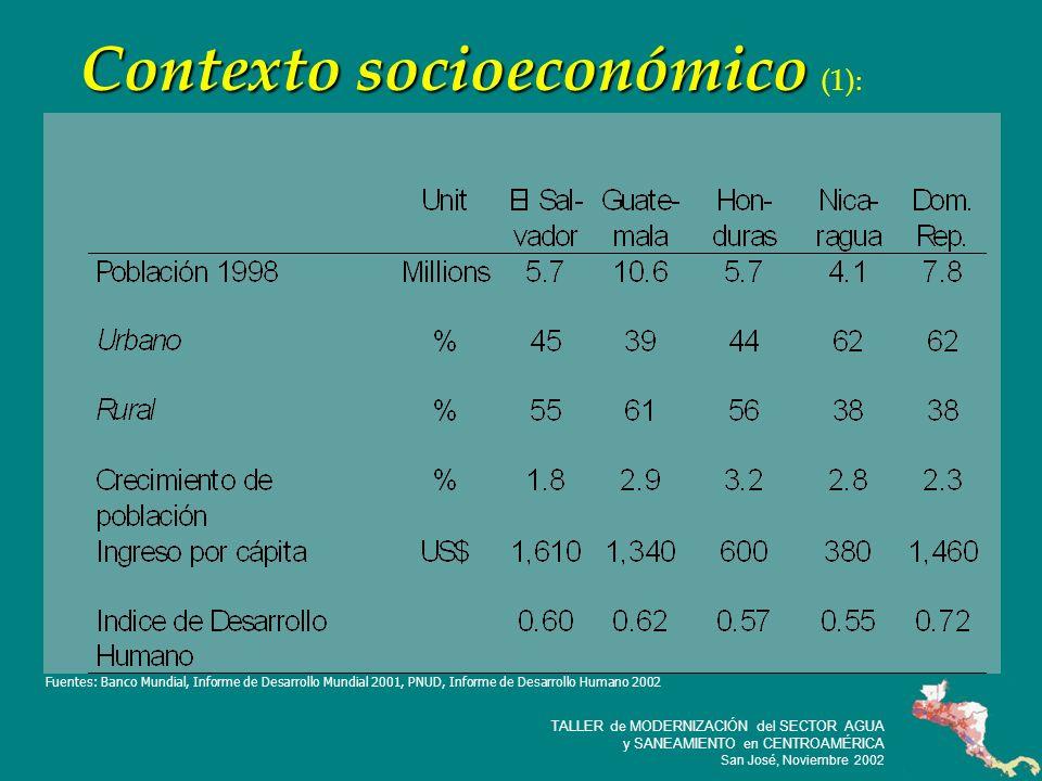 7 TALLER de MODERNIZACIÓN del SECTOR AGUA y SANEAMIENTO en CENTROAMÉRICA San José, Noviembre 2002 Contexto socioeconómico Contexto socioeconómico (1): Fuentes: Banco Mundial, Informe de Desarrollo Mundial 2001, PNUD, Informe de Desarrollo Humano 2002