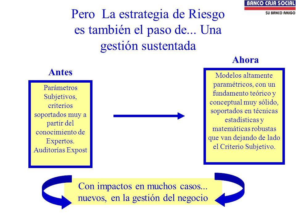 Pero La estrategia de Riesgo es también el paso de... Una gestión sustentada Parámetros Subjetivos, criterios soportados muy a partir del conocimiento