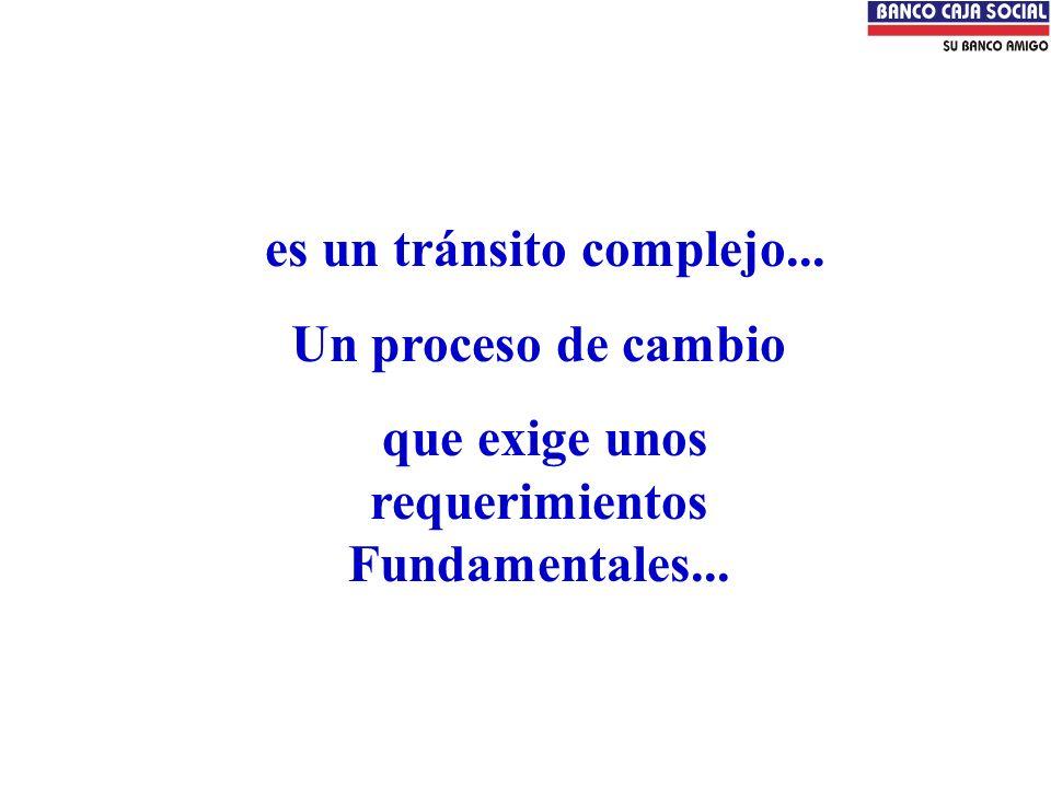 es un tránsito complejo... Un proceso de cambio que exige unos requerimientos Fundamentales...