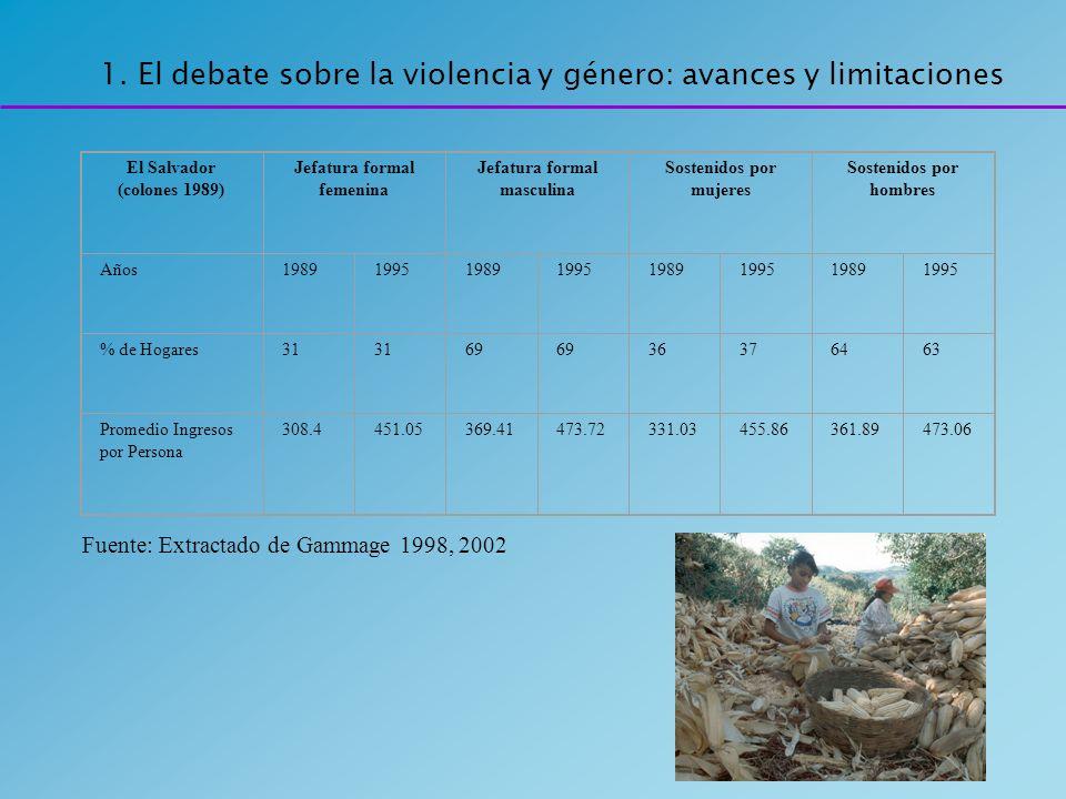 1. El debate sobre la violencia y género: avances y limitaciones El Salvador (colones 1989) Jefatura formal femenina Jefatura formal masculina Sosteni