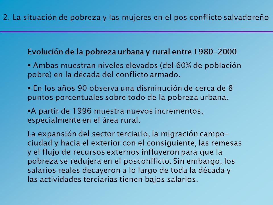 2. La situación de pobreza y las mujeres en el pos conflicto salvadoreño Evolución de la pobreza urbana y rural entre 1980-2000 Ambas muestran niveles