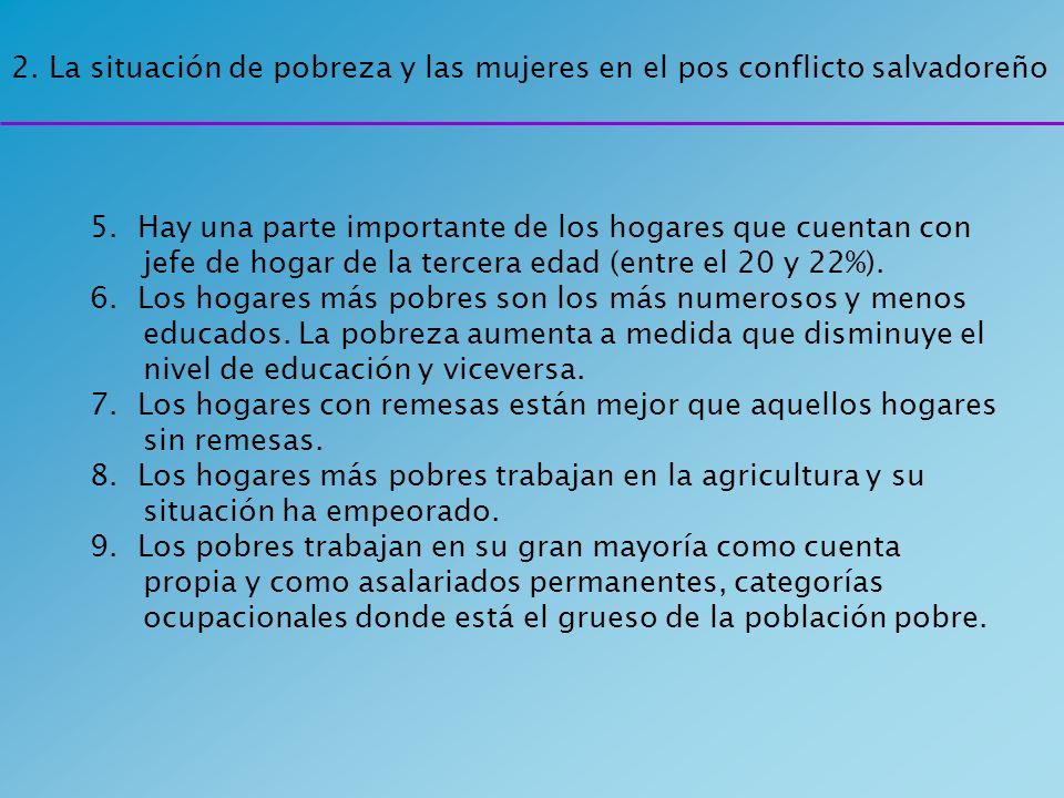 2. La situación de pobreza y las mujeres en el pos conflicto salvadoreño 5. Hay una parte importante de los hogares que cuentan con jefe de hogar de l