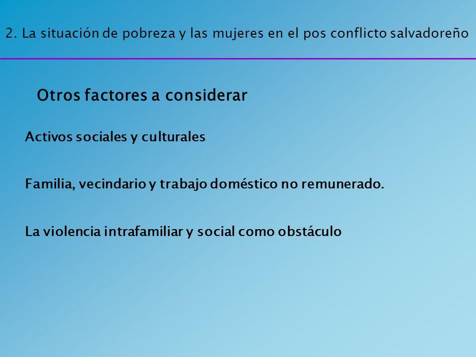 2. La situación de pobreza y las mujeres en el pos conflicto salvadoreño Activos sociales y culturales Familia, vecindario y trabajo doméstico no remu