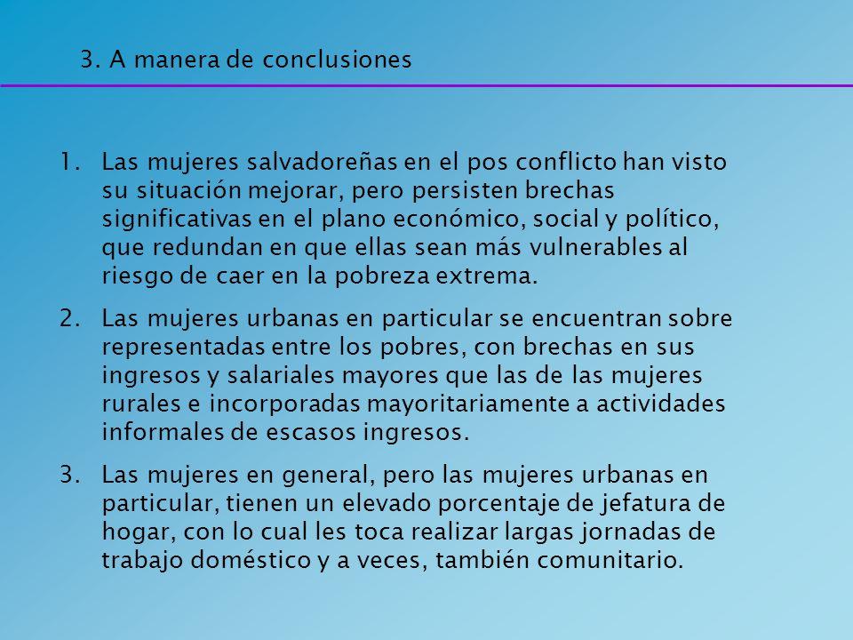 3. A manera de conclusiones 1.Las mujeres salvadoreñas en el pos conflicto han visto su situación mejorar, pero persisten brechas significativas en el