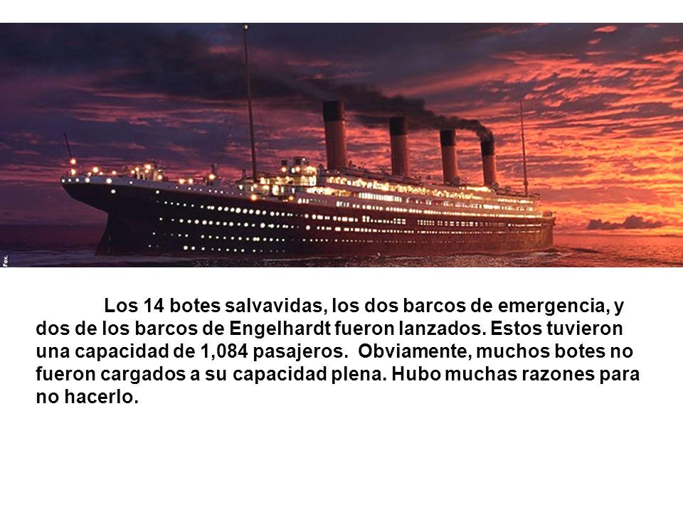 Los 14 botes salvavidas, los dos barcos de emergencia, y dos de los barcos de Engelhardt fueron lanzados. Estos tuvieron una capacidad de 1,084 pasaje