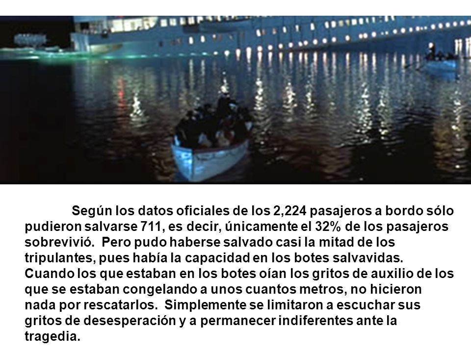 Según los datos oficiales de los 2,224 pasajeros a bordo sólo pudieron salvarse 711, es decir, únicamente el 32% de los pasajeros sobrevivió. Pero pud