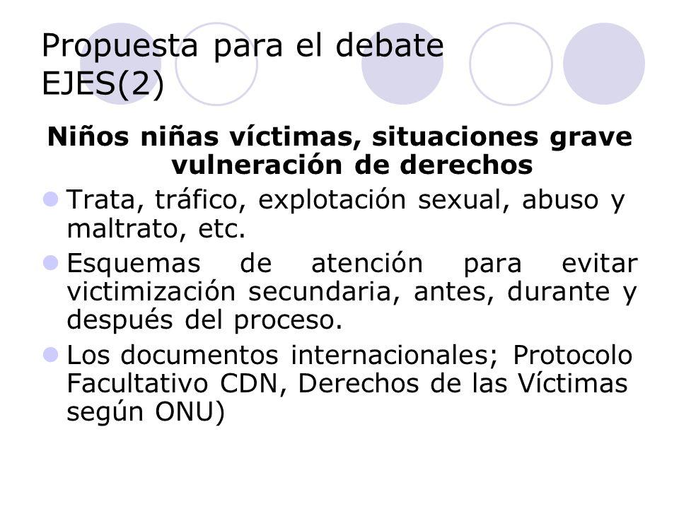 Propuesta para el debate EJES(2) Niños niñas víctimas, situaciones grave vulneración de derechos Trata, tráfico, explotación sexual, abuso y maltrato, etc.
