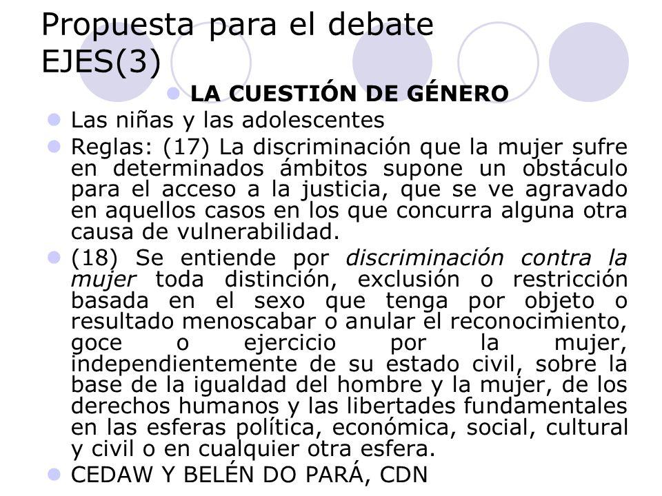 Propuesta para el debate EJES(3) LA CUESTIÓN DE GÉNERO Las niñas y las adolescentes Reglas: (17) La discriminación que la mujer sufre en determinados