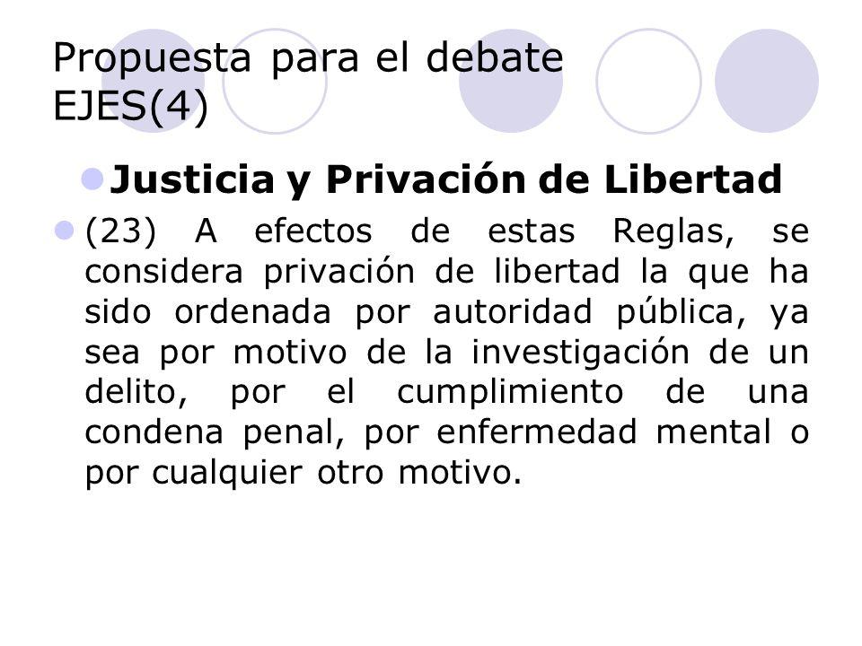Propuesta para el debate EJES(4) Justicia y Privación de Libertad (23) A efectos de estas Reglas, se considera privación de libertad la que ha sido or