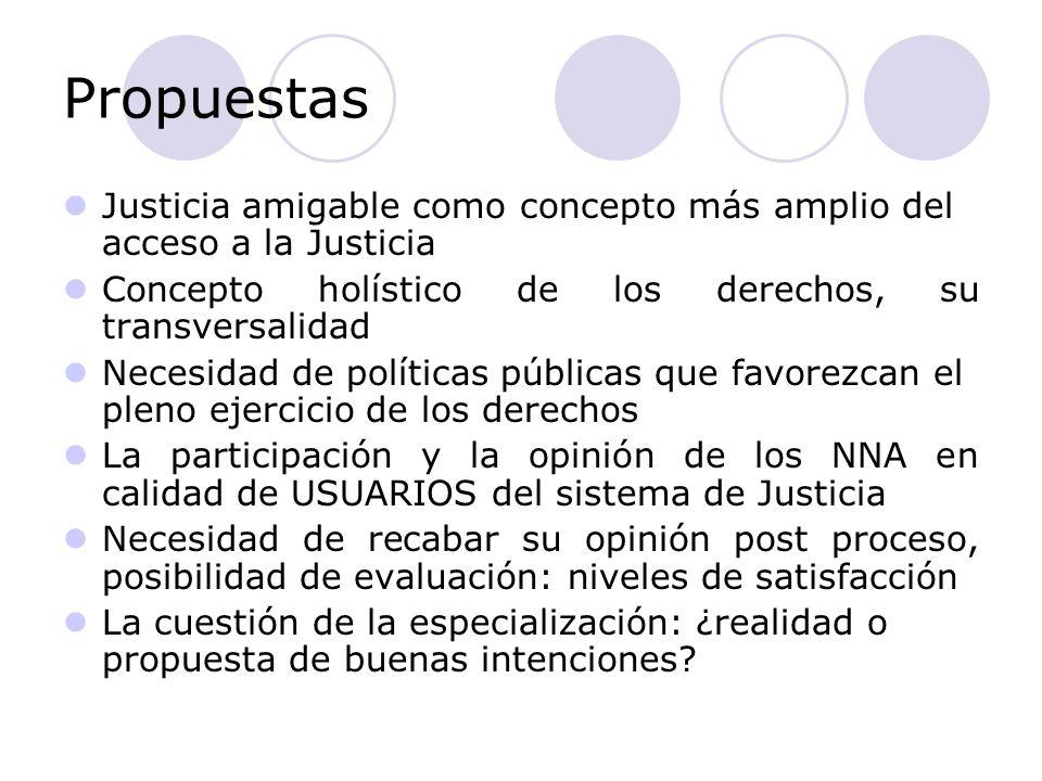 Propuestas Justicia amigable como concepto más amplio del acceso a la Justicia Concepto holístico de los derechos, su transversalidad Necesidad de pol