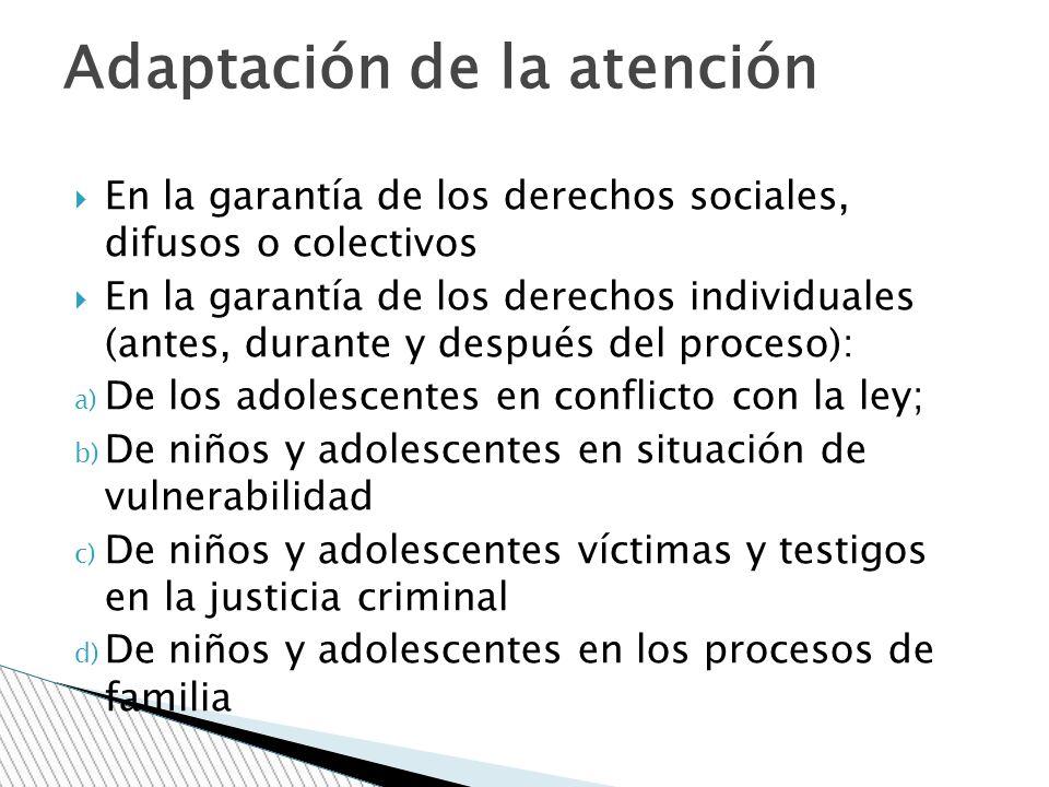 En la garantía de los derechos sociales, difusos o colectivos En la garantía de los derechos individuales (antes, durante y después del proceso): a) D