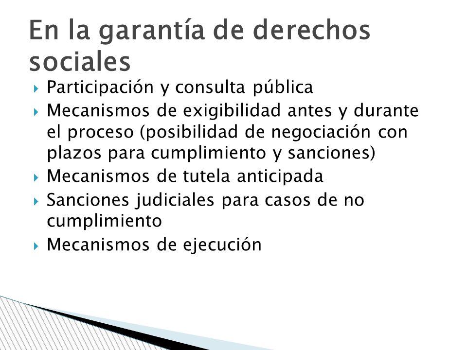 Participación y consulta pública Mecanismos de exigibilidad antes y durante el proceso (posibilidad de negociación con plazos para cumplimiento y sanc