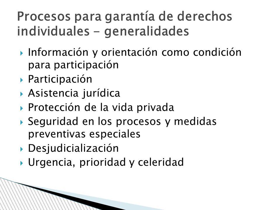 Información y orientación como condición para participación Participación Asistencia jurídica Protección de la vida privada Seguridad en los procesos