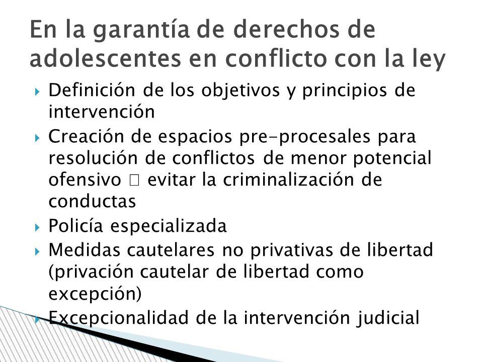 Definición de los objetivos y principios de intervención Creación de espacios pre-procesales para resolución de conflictos de menor potencial ofensivo