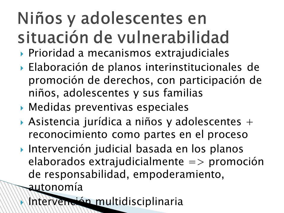 Prioridad a mecanismos extrajudiciales Elaboración de planos interinstitucionales de promoción de derechos, con participación de niños, adolescentes y