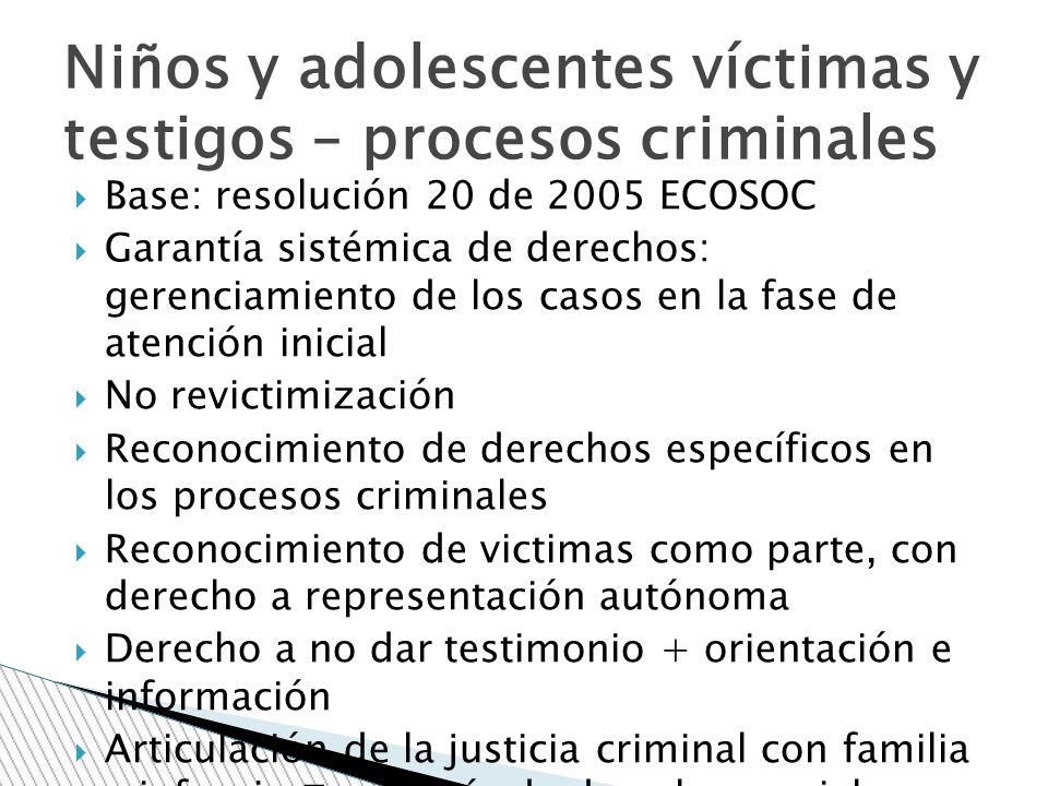 Base: resolución 20 de 2005 ECOSOC Garantía sistémica de derechos: gerenciamiento de los casos en la fase de atención inicial No revictimización Recon