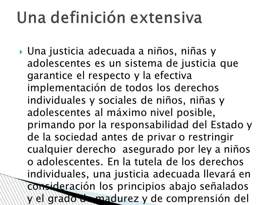 Una justicia adecuada a niños, niñas y adolescentes es un sistema de justicia que garantice el respecto y la efectiva implementación de todos los dere