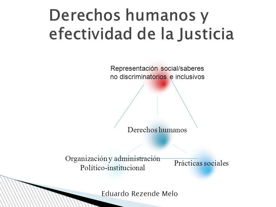 Derechos humanos y efectividad de la Justicia Eduardo Rezende Melo Organización y administración Político-institucional Prácticas sociales Representac