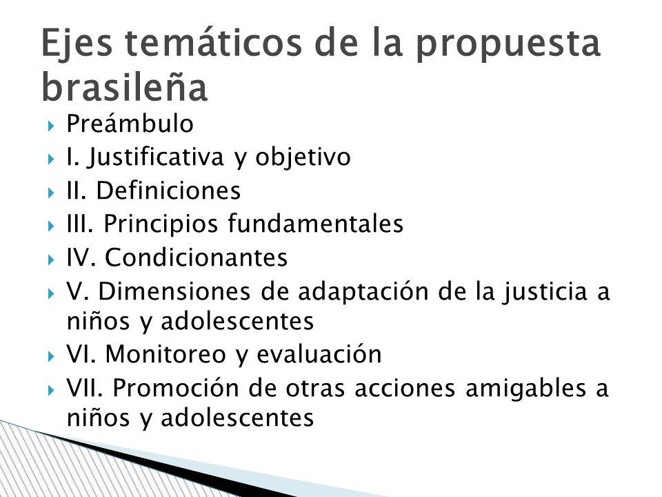 Preámbulo I. Justificativa y objetivo II. Definiciones III. Principios fundamentales IV. Condicionantes V. Dimensiones de adaptación de la justicia a