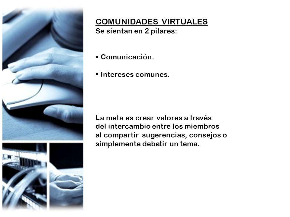 COMUNIDADES VIRTUALES Se sientan en 2 pilares: Comunicación. Intereses comunes. La meta es crear valores a través del intercambio entre los miembros a