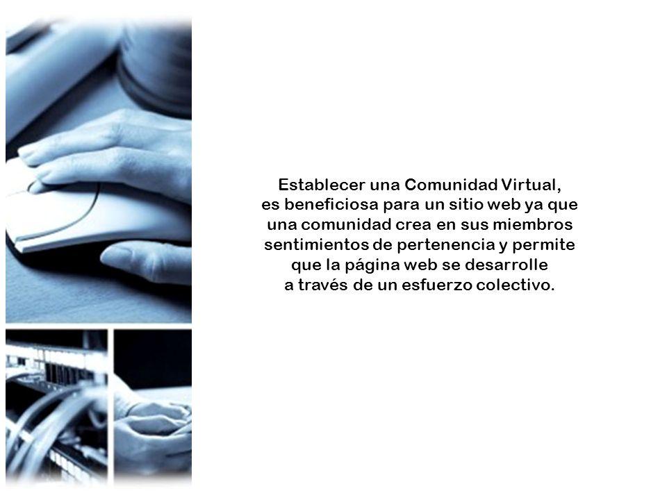 Establecer una Comunidad Virtual, es beneficiosa para un sitio web ya que una comunidad crea en sus miembros sentimientos de pertenencia y permite que la página web se desarrolle a través de un esfuerzo colectivo.