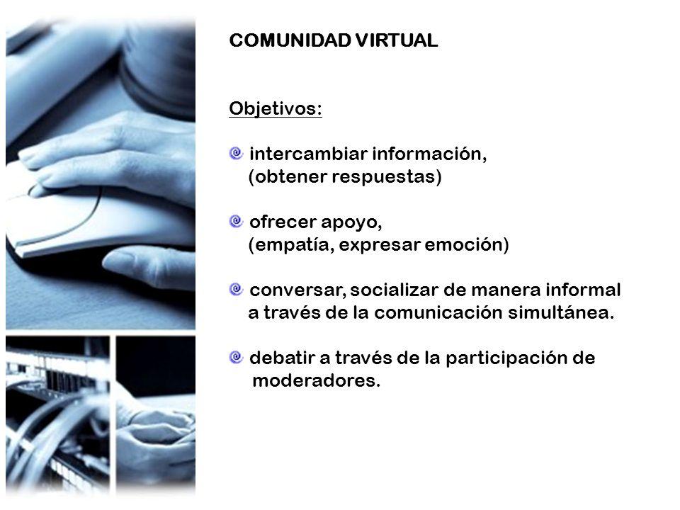 COMUNIDAD VIRTUAL Objetivos: intercambiar información, (obtener respuestas) ofrecer apoyo, (empatía, expresar emoción) conversar, socializar de manera informal a través de la comunicación simultánea.