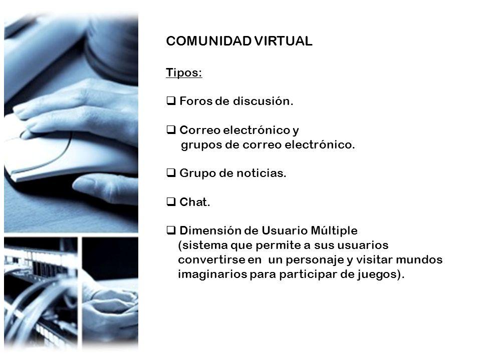 COMUNIDAD VIRTUAL Tipos: Foros de discusión. Correo electrónico y grupos de correo electrónico. Grupo de noticias. Chat. Dimensión de Usuario Múltiple