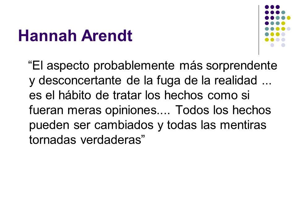 Hannah Arendt El aspecto probablemente más sorprendente y desconcertante de la fuga de la realidad... es el hábito de tratar los hechos como si fueran