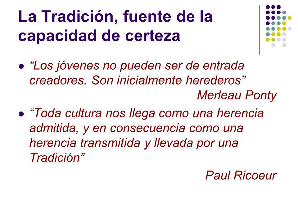 La Tradición, fuente de la capacidad de certeza Los jóvenes no pueden ser de entrada creadores. Son inicialmente herederos Merleau Ponty Toda cultura