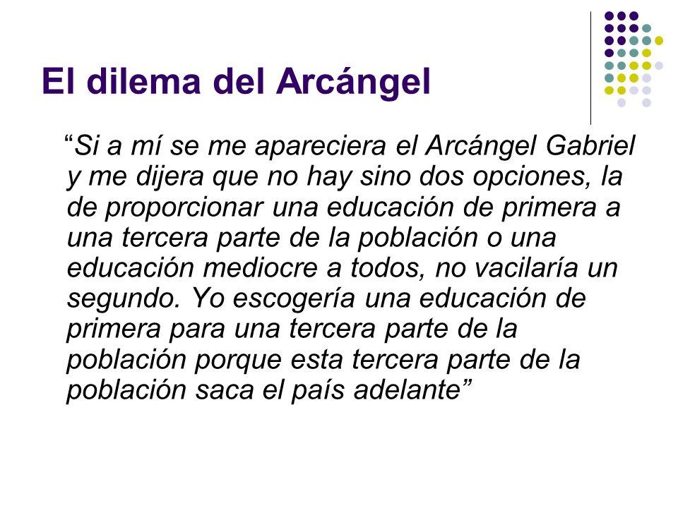 El dilema del Arcángel Si a mí se me apareciera el Arcángel Gabriel y me dijera que no hay sino dos opciones, la de proporcionar una educación de prim