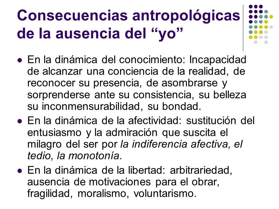 Consecuencias antropológicas de la ausencia del yo En la dinámica del conocimiento: Incapacidad de alcanzar una conciencia de la realidad, de reconoce