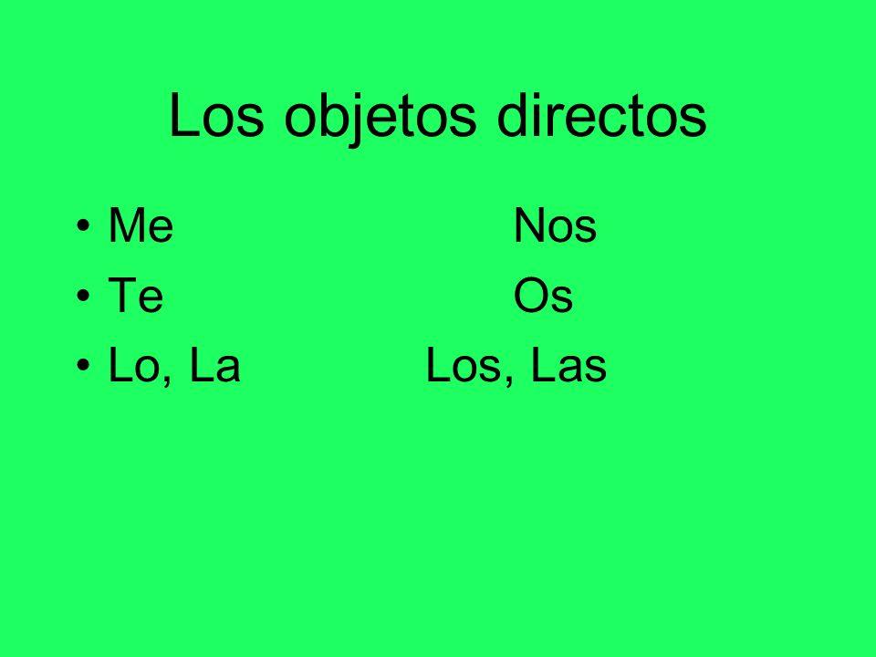 Los objetos directos MeNos TeOs Lo, LaLos, Las