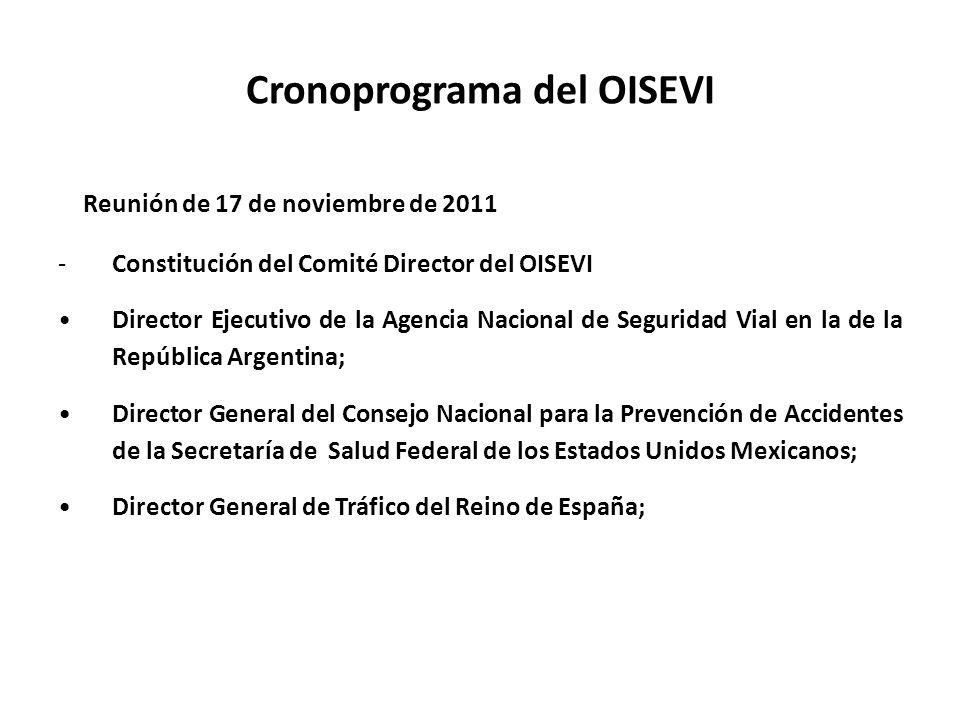 Cronoprograma del OISEVI Reunión de 17 de noviembre de 2011 -Constitución del Comité Director del OISEVI Director Ejecutivo de la Agencia Nacional de