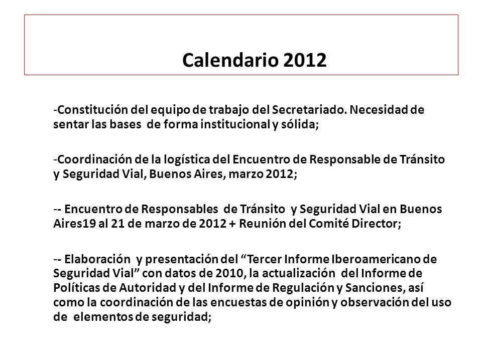 Calendario 2012 -Constitución del equipo de trabajo del Secretariado. Necesidad de sentar las bases de forma institucional y sólida; -Coordinación de