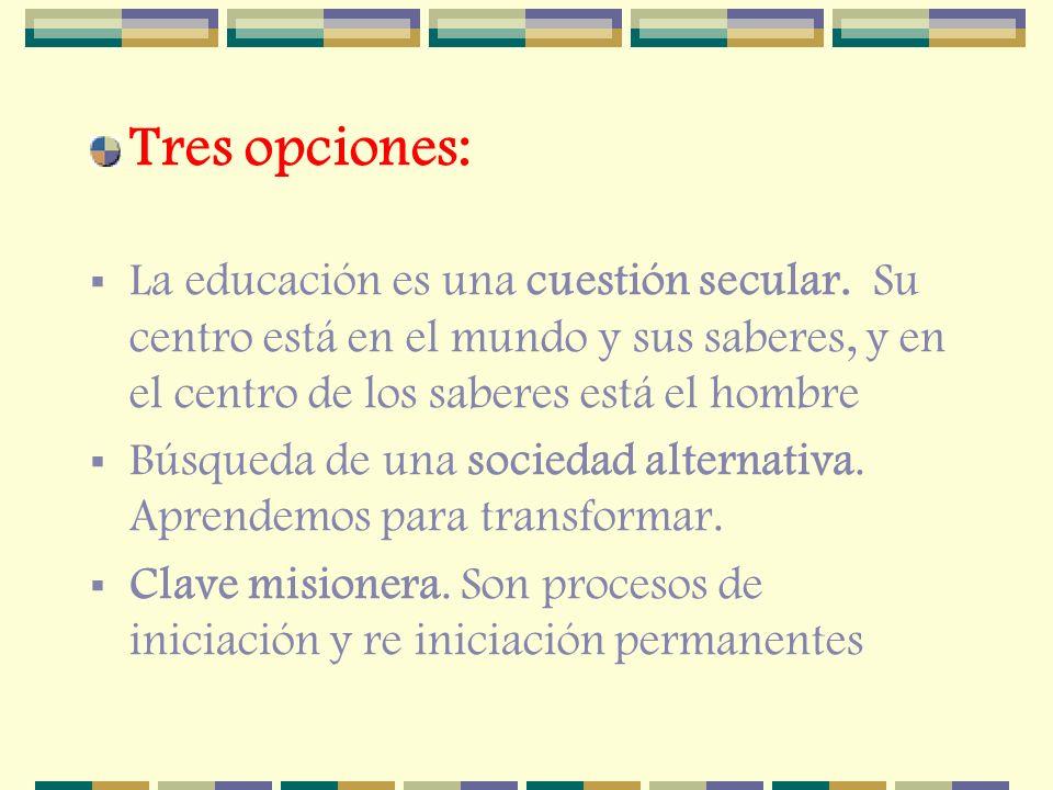 Tres opciones: La educación es una cuestión secular. Su centro está en el mundo y sus saberes, y en el centro de los saberes está el hombre Búsqueda d