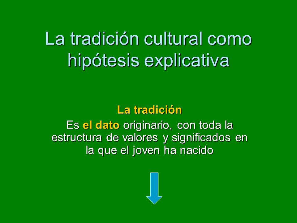 La tradición cultural como hipótesis explicativa La tradición Es el dato originario, con toda la estructura de valores y significados en la que el joven ha nacido