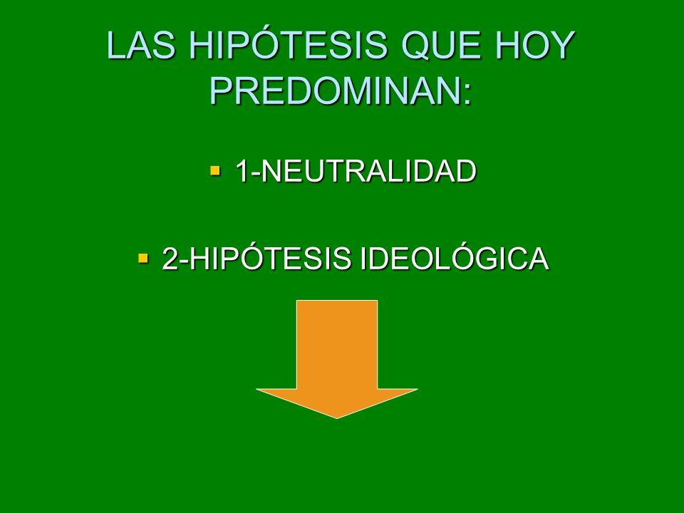 LAS HIPÓTESIS QUE HOY PREDOMINAN: 1-NEUTRALIDAD 1-NEUTRALIDAD 2-HIPÓTESIS IDEOLÓGICA 2-HIPÓTESIS IDEOLÓGICA