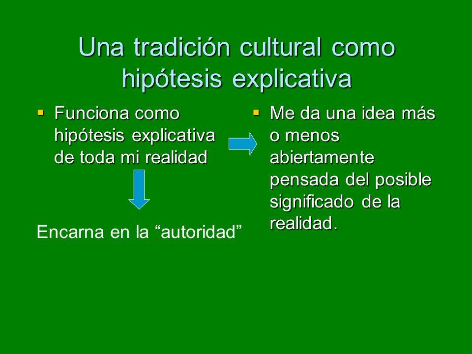 Una tradición cultural como hipótesis explicativa Funciona como hipótesis explicativa de toda mi realidad Funciona como hipótesis explicativa de toda mi realidad Me da una idea más o menos abiertamente pensada del posible significado de la realidad.